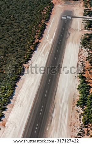 Aerial view of Shark Bay Small desert airport in Australia - stock photo