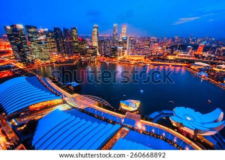Aerial view of Singapore city skyline  - stock photo
