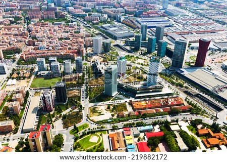 Aerial view of skyscrapers at Sants-Montjuic district. Barcelona - stock photo