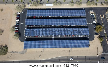 Aerial view of solar paneled covered parking - stock photo