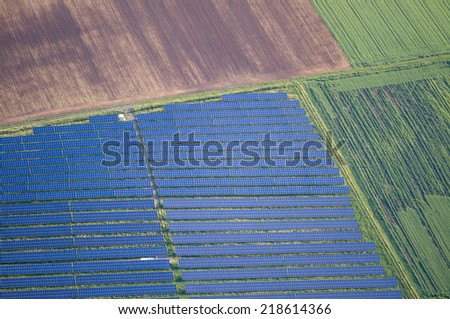 aerial view of solar panels - stock photo