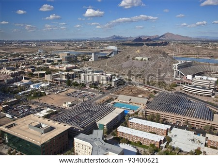 Aerial view of solar panels in the Southwest United States - stock photo