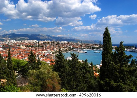 Aerial view of Split from Marjan Hill