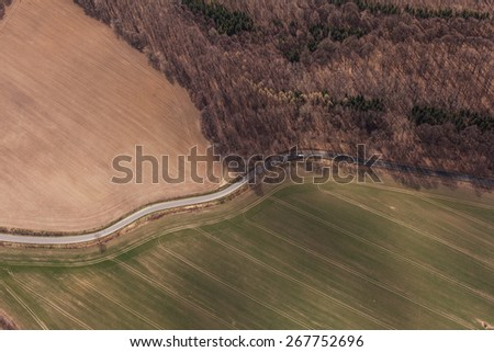 aerial view of spring time village landscape in Poland