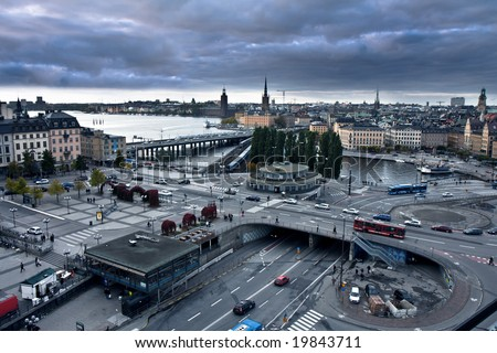 Aerial view of Stockholm on a cloudy evening - stock photo