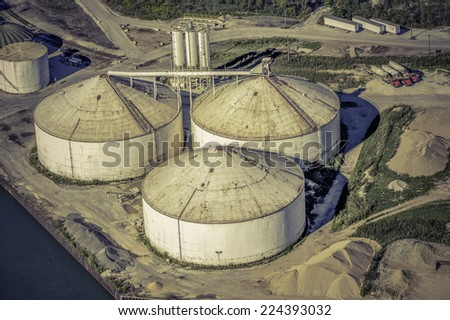 Aerial view of storage industrial zone - stock photo