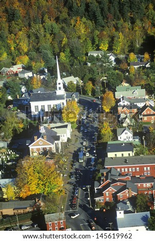 Aerial view of Stowe, VT in Autumn on Scenic Route 100 - stock photo