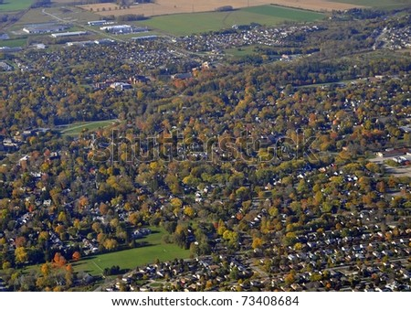 aerial view of Stratford Ontario, Canada - stock photo