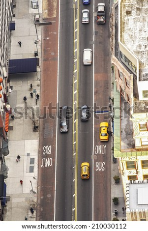 Aerial view of Street in New York City, USA - stock photo