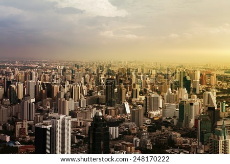 Aerial view of streets and buildings, Bangkok City. Thailand. - stock photo