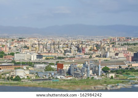 Aerial view of suburbs and industrial area - stock photo