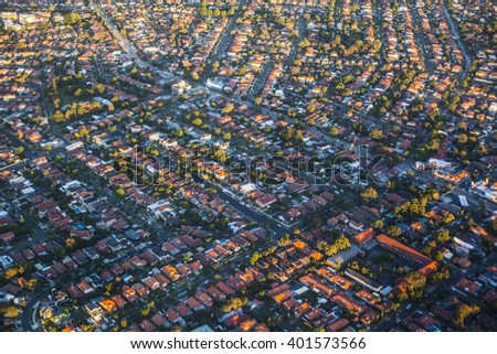 Aerial view of suburbs in Sydney, Australia - stock photo