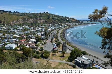 Aerial view of Sumner Christchurch, a popular holiday destination coastal seaside in Canterbury Region Christchurch, New Zealand. - stock photo