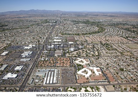 Aerial view of Sun City, Arizona looking to the West from Peoria, Arizona - stock photo
