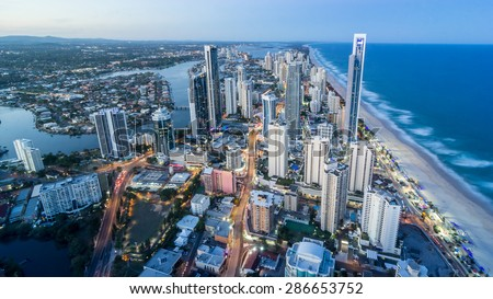 Aerial view of Surfers Paradise at dusk in summer, Australia - stock photo