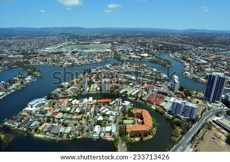 Aerial view of Surfers Paradise in Gold Coast Queensland, Australia.