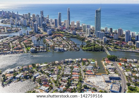 Aerial view of Surfers Paradise, Queensland, Australia - stock photo