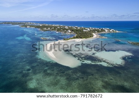 Aerial view of Tahiti Beach and sand bar on Elbow Cay in Abaco, Bahamas.