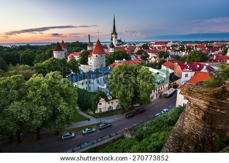 Aerial View of Tallinn Old Town from Toompea Hill in the Evening, Tallinn, Estonia - stock photo