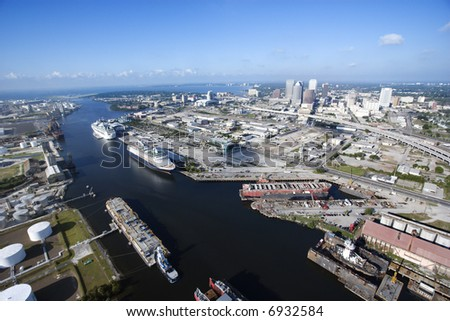 Aerial view of Tampa Bay Area, Flordia with waterway and ships.
