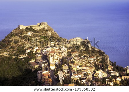 Aerial view of Taormina, Sicily; sea on background - stock photo