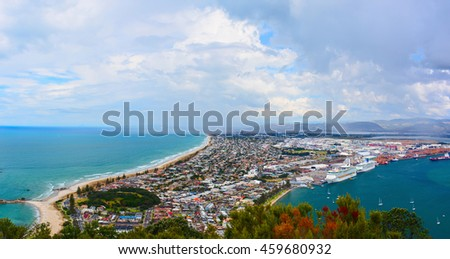 Aerial view of Tauranga town from the Mount Maunganui. Tauranga, New Zealand.