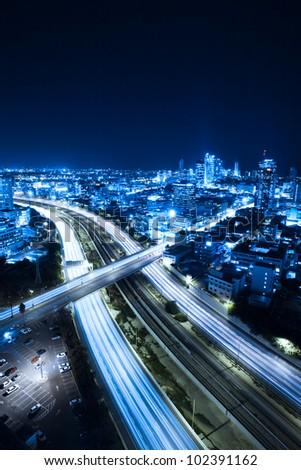 Aerial  View Of Tel Aviv At Night - Tel Aviv Cityscape - stock photo
