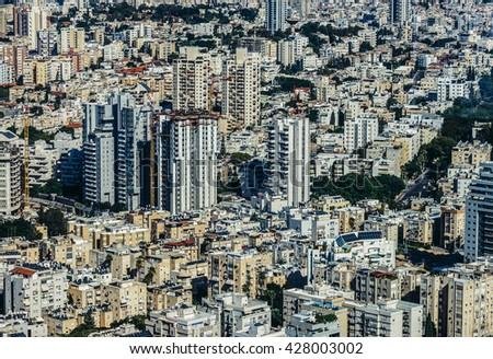 Aerial view of Tel Aviv city in Israel - stock photo