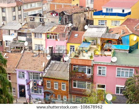Aerial view of terraced housing in suburb of Ortakoy near Bosporus in Istanbul, Turkey