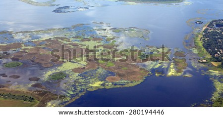 Aerial view of the algae bloom pollution in Lake Okeechobee, Florida - stock photo