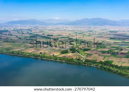 Aerial view of the artificial lake Kerkini at the north Greece - stock photo