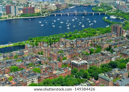 Aerial View of the Back Bay in Boston, MA, USA - stock photo