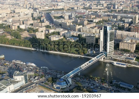 Aerial view of the Bagration bridge, Moscow