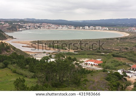 Aerial view of the bay of saint Martinho do Porto, Alcobaca, Portugal