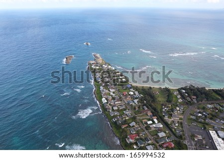 Aerial view of the beauty shoreline at north shore of Oahu, Hawaii.  - stock photo
