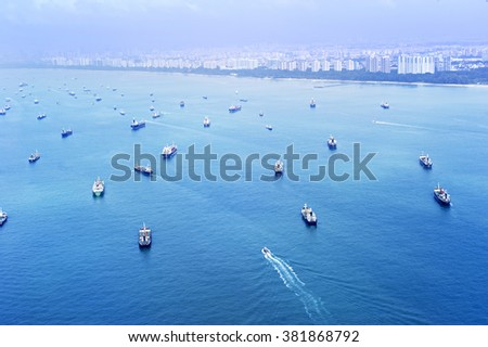 Aerial view of the cargo ships in Singapore harbor - stock photo