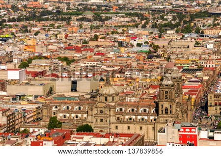 Aerial view of the Cathedral of Mexico City with the surrounding neighborhood - stock photo