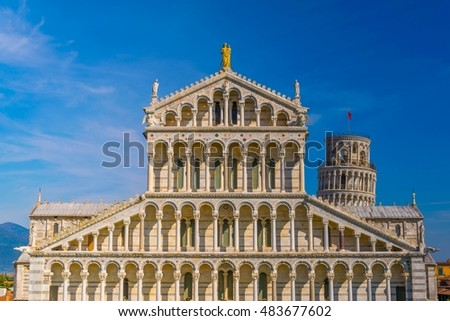 Aerial view of the Cathedral of Pisa in Italy