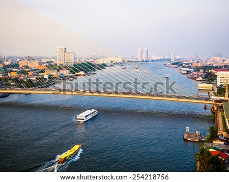 Aerial view of The Chao Phraya River in Bangkok, Thailand - stock photo