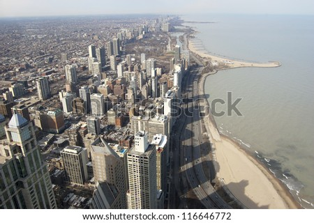 Aerial View of the Chicago Skyline - stock photo