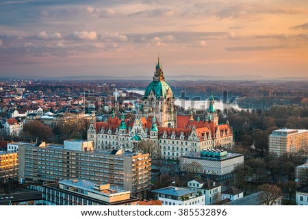 Aerial view of the City Hall of Hannover, Germany - stock photo
