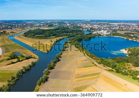 Aerial view of the city in Poland Opole