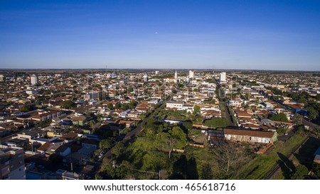 Aerial view of the city of Andradina in Sao Paulo state in Brazil.
