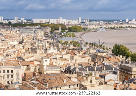 Aerial view of the city of Bordeaux, France - stock photo