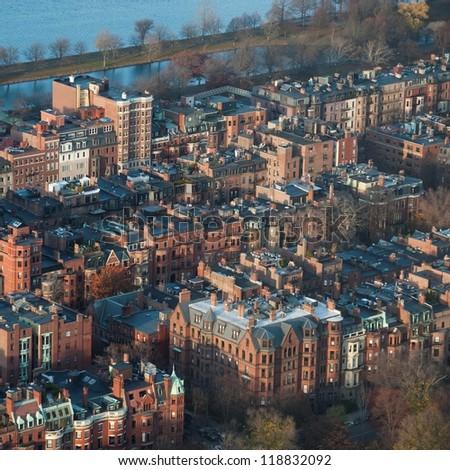 Aerial view of the city of Boston, Massachusetts, USA - stock photo