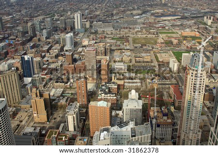 Aerial view of the city of Chicago and new highrise construction - stock photo