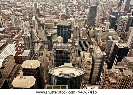 Aerial view of the city of Chicago showing the densely packed buildings