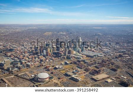 Aerial view of the City of Denver, Colorado - stock photo