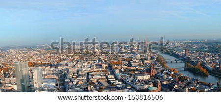 Aerial view of the city of Frankfurt am Main in Germany - stock photo