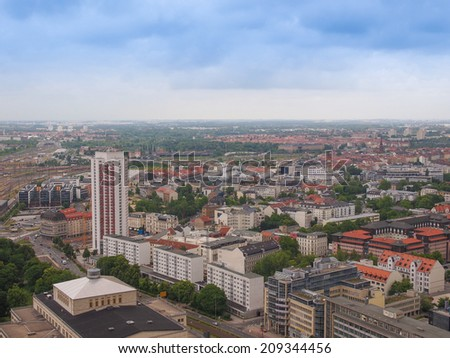 Aerial view of the city of Leipzig in Germany - stock photo
